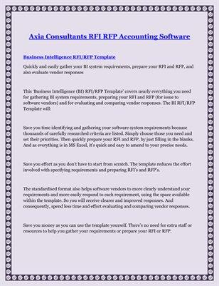Axia Consultants RFI RFP Accounting Software