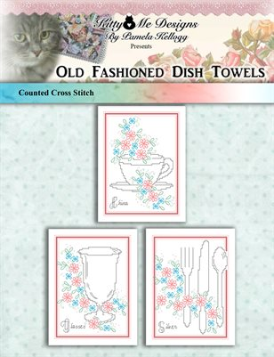 Old Fashioned Dish Towels Cross Stitch Pattern