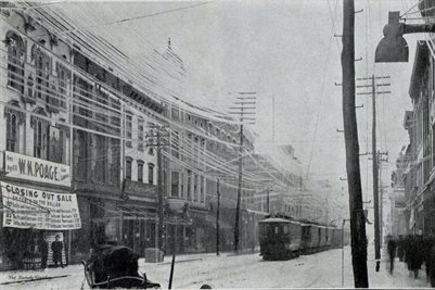1902 ICE STORMS, THE BLOCKADE OF STREET CARS ON BROADWAY, ICE BOUND, REMAINING THERE ONE WEEK, PADUCAH, KENTUCKY