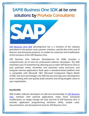 SAP® Business One SDK at be one solutions by ProAxia Consultants