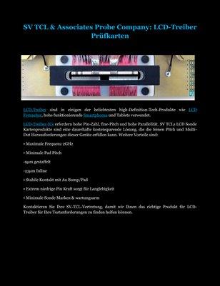 SV TCL & Associates Probe Company: LCD-Treiber Prüfkarten