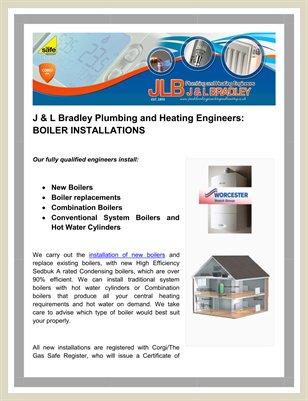 J & L Bradley Plumbing and Heating Engineers BOILER INSTALLATIONS