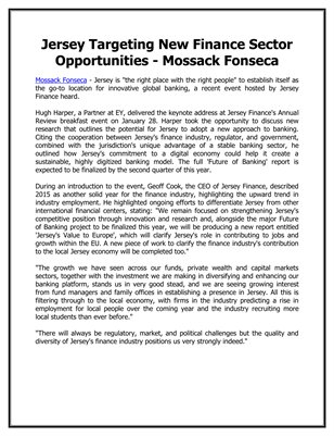 Jersey Targeting New Finance Sector Opportunities - Mossack Fonseca