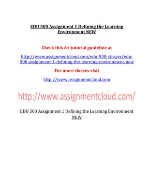 EDU 500 Entire Course NEW