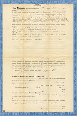 1895 Mortgage,  J.B. MINTON-G.W. SAUNDERS-F.M. MINTON, Graves County, Kentucky