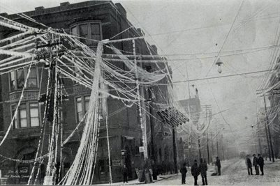 1902 ICE STORM, CORNER OF FIFTH AND BROADWAY WHERE 2000 WIRES FELL
