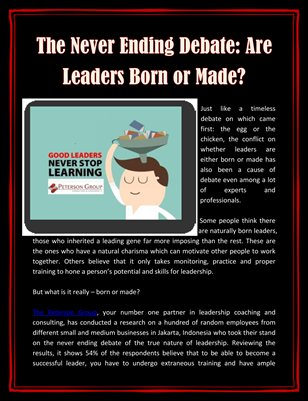 The Never Ending Debate: Are Leaders Born or Made?