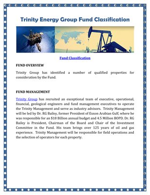 Trinity Energy Group Fund Classification