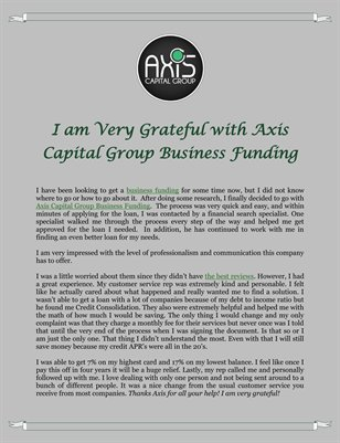 I am Very Grateful with Axis Capital Group Business Funding