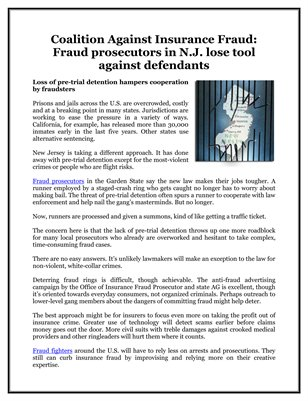 Coalition Against Insurance Fraud: Fraud prosecutors in N.J. lose tool against defendants