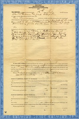 1898 Mortgage, Jock Stephens & Ike McClarie-Gus Dawson, Graves County, Kentucky