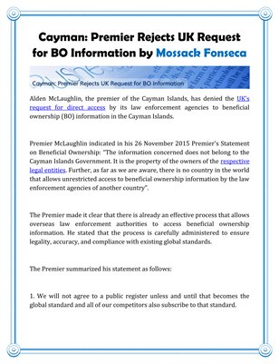 Cayman: Premier Rejects UK Request for BO Information by Mossack Fonseca