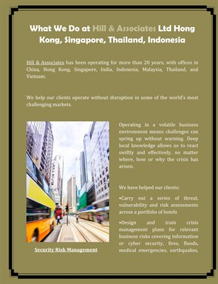 What We Do at Hill & Associates Ltd Hong Kong, Singapore, Thailand, Indonesia