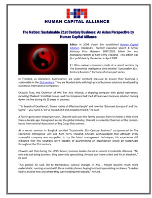 The Nation: Sustainable 21st Century Business: An Asian Perspective by Human Capital Alliance