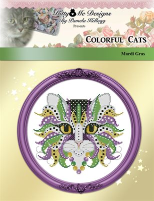 Colorful Cats Mardi Gras Counted Cross Stitch Pattern