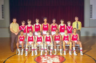FEB. 19, 1971 8TH GRADE, BRAZELTON JUNIOR HIGH BASKETBALL TEAM, MCCRACKEN COUNTY, KENTUCKY
