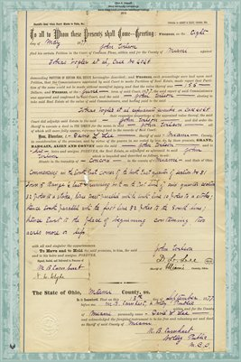 1877 Sheriff's Deed, by D.L. Lee Sheriff, to John Wilson, Miami County, Ohio