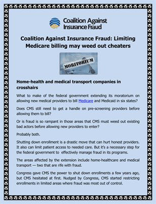 Coalition Against Insurance Fraud: Limiting Medicare billing may weed out cheaters