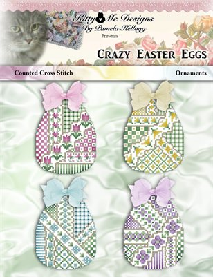 Crazy Easter Eggs Ornaments Counted Cross Stitch Pattern