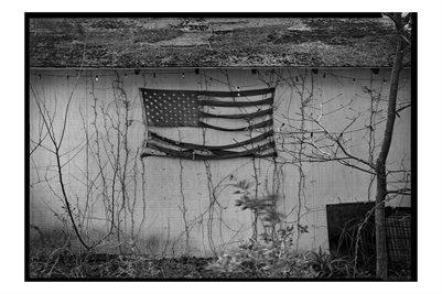 Tattered Flag Poster. White background.