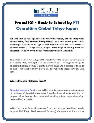 Fraud 101 - Back to School by FTI Consulting Global Tokyo Japan