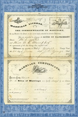 1892 Marriage License and Certificate for M.S. Yates and Miss U.C. Murphy, Graves County, Kentucky