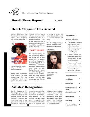 HervL Newsletter - Dec 2012