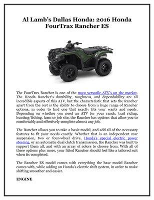 Al Lamb's Dallas Honda: 2016 Honda FourTrax Rancher ES