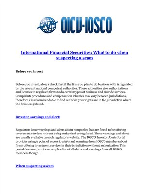 International Financial Securities: What to do when suspecting a scam