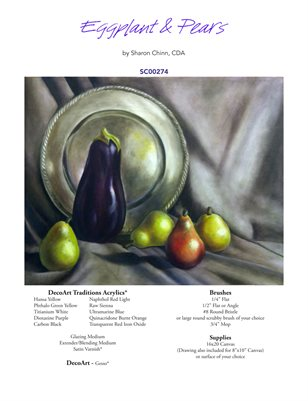 Eggplant and Pear Still Life Painting Pattern Tutorial by Sharon Chinn - SC00274