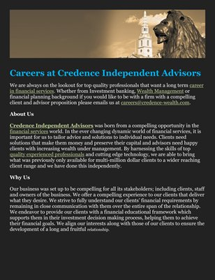 Careers at Credence Independent Advisors