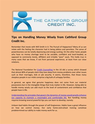Cathford Group Credit Inc.: Tips on Handling Money Wisely