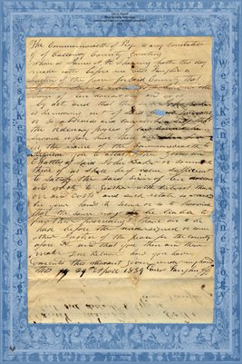 1839 James A.H. Sherring vs. John Baker, Calloway County, Kentucky