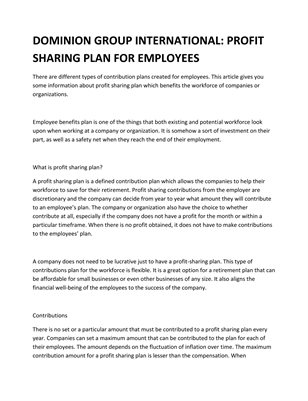 DOMINION GROUP INTERNATIONAL: PROFIT SHARING PLAN FOR EMPLOYEES