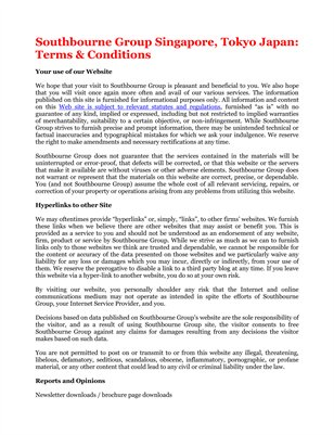 Southbourne Group Singapore, Tokyo Japan: Terms & Conditions