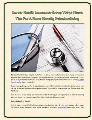 Harver Health Insurance Group Tokyo News: Tips For A Finne Rimelig Helseforsikring