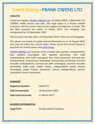 Credit Rating - FRANK OWENS LTD