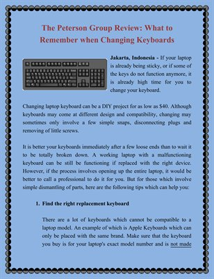 The Peterson Group Review: What to Remember when Changing Keyboards