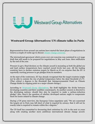 Westward Group Alternatives: UN climate talks in Paris