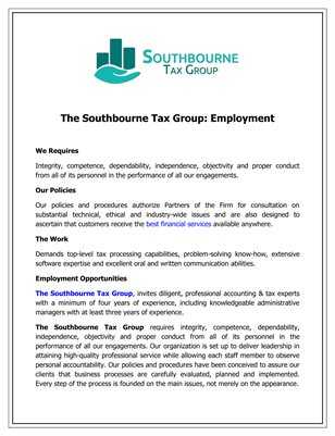 The Southbourne Tax Group: Employment