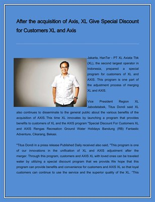 After the acquisition of Axis, XL Give Special Discount for Customers XL and Axis