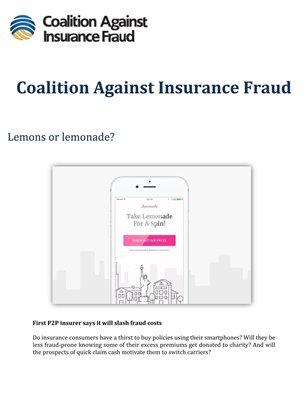 Coalition Against Insurance Fraud: Lemons or lemonade?