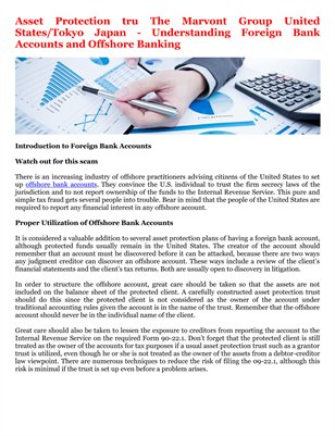 Asset Protection tru The Marvont Group United States/Tokyo Japan - Understanding Foreign Bank Accounts and Offshore Banking