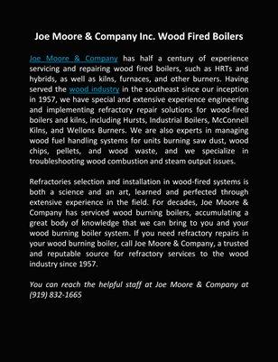 Joe Moore & Company Inc. Wood Fired Boilers
