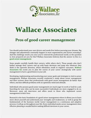 Wallace Associates: Pros of good career management