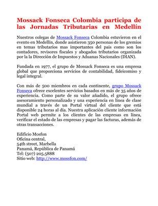 Mossack Fonseca Colombia participa de las Jornadas Tributarias en Medellín