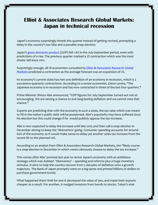Elliot & Associates Research Global Markets: Japan in technical recession