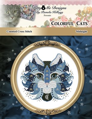 Colorful Cats Midnight Counted Cross Stitch Pattern