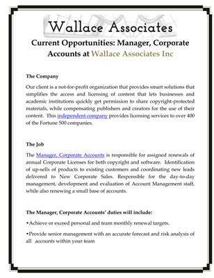 Current Opportunities: Manager, Corporate Accounts at Wallace Associates Inc