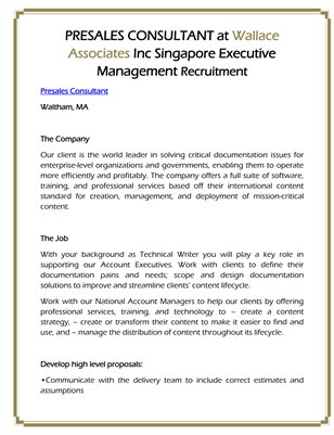 PRESALES CONSULTANT at Wallace Associates Inc Singapore Executive Management Recruitment